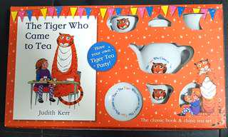 The Tiger Who Came to Tea Book with Tea party toy Set by Judith Kerr