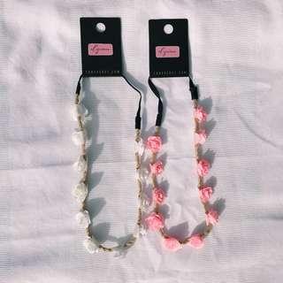 F21 Neon pink&Cream flower head wear