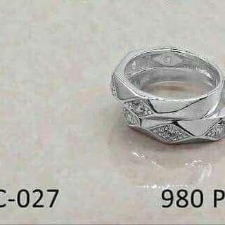 Original 9.25 italy silver couple ring