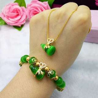 #Latest Hot Buy#Lucky Crystal Cat's eye stone gourd gold-plated neck chain + bracelet Set