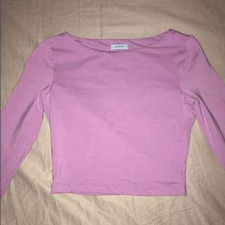 pink kookai crop / long sleeve crop