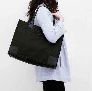 TB Ella Packable Black Nylon Tote