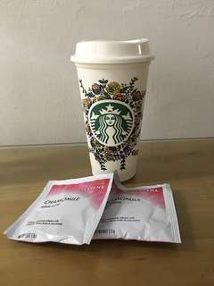 Starbucks Re-usable cup w/ FREE Chamomile tea