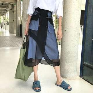 VM 原創 獨特兩件式拼紗設計 造型十足條紋高腰透視感長裙(可拆卸設計)