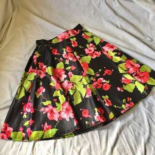 Black & Floral Pattern Skirt