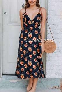 NC1027 Summer Strap Daisy Dress (Navy,Yellow)