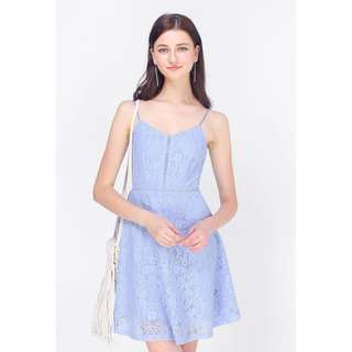 Fayth Edel Lace Swing Dress in Periwinkle (Size L)