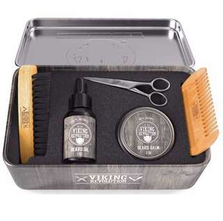 [IN-STOCK] BEST DEAL Beard Care Kit for Men - Ultimate Beard Grooming Kit includes 100% Boar Beard Brush, Wood Beard Comb, Beard Balm, Beard Oil, Beard & Mustache Scissors and Metal Gift Box by Viking Revolution