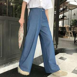 VM 夏季 四季百搭 高腰顯瘦顯腿長 氣質款寬鬆藍色闊腿長褲