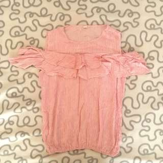 Pink striped slip shoulder blouse