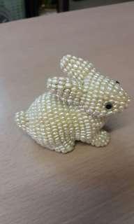 絕對手工編織 百份百係 珍珠 兔仔 擺件
