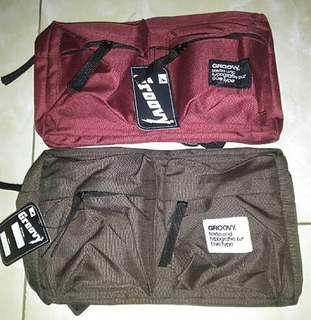 Olshop fashion tas/waistbag - slingbag polos dua saku.