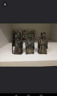 old figurine pweter fu lok sou
