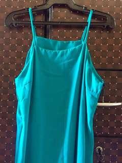 Teal slit dress