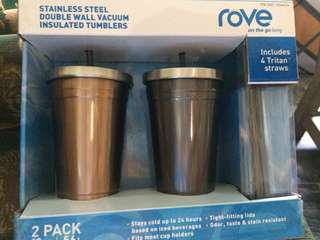 ROVE Stainless Steel Double Wall Vaccum Insulated Tumblers - 2 PACK