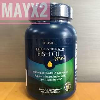 💥暢淨血管💥截擊3高💥強健關節💥活化腦部思考和專注力💥 GNC (Mini) 三倍超級魚油 (120粒) (Mini)Triple Strength Fish Oil  (2個月份量)