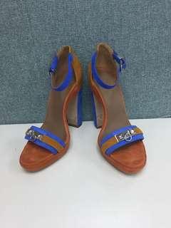 Hermes suede studs strap heels Sz 37