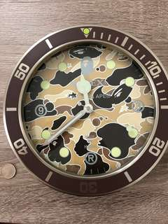 A Bathing Ape Bapex brown camo clock
