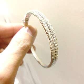 白金鑽石手鐲【六福】近乎全新!