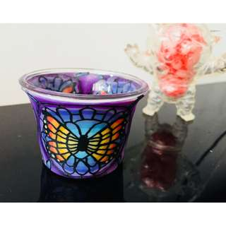 🚚 Small Tea Light Candle Holder Stained Glass Style Hand-Painted Butterfly