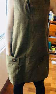 Cue dress linen cotton buttons khaki military size au 8