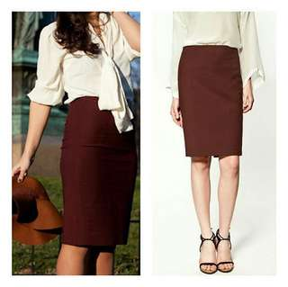 NEW Zara - Maroon Pencil Skirt