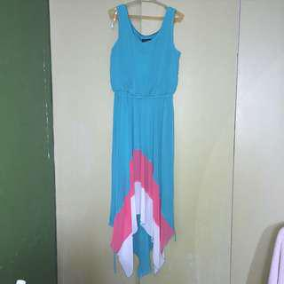 Blue Color Block Flowy Dress