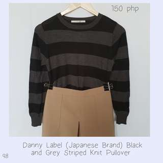 Danny Label (Japanese Brand) Black and Grey Striped Knit Pullover