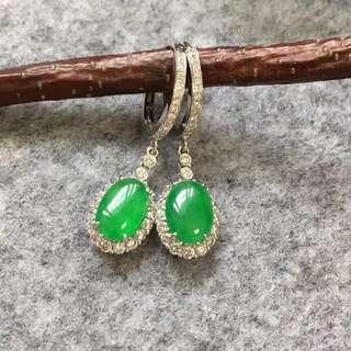 18K鑽石天然A貨綠蛋耳環