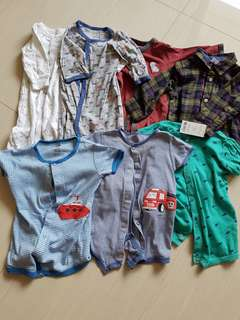 Baby boy clothes carters sleepsuits and rompers