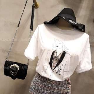 【H.BANDWAGON】韓國人像素描印花華麗立體星星鎖鏈造型圓領短袖T恤 棉T TEE