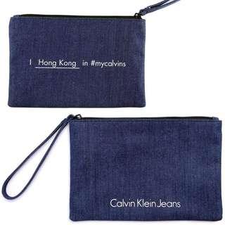 包平郵 全新 Calvin Klein Jeans 牛仔布袋/萬用袋/化妝袋 Denim bag Cosmetic bag