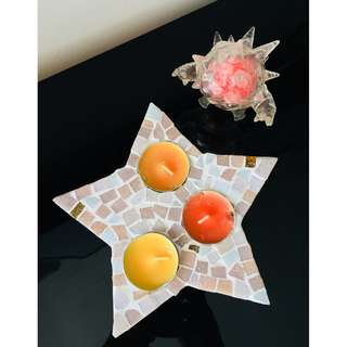 🚚 Tea Light Candle Holder Star Shaped Cracked Marble Tile Design