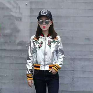 High-quality metallic faux leather jacket