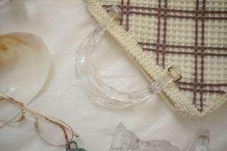 Vintage plaid knitted bag