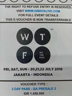 Tiket we the fest wtf 3day