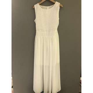 🚚 【全新】韓版 仙女 純白色 長洋裝 仙氣 婚宴 白色洋裝 婚禮洋裝 約會洋裝 氣質洋裝 長洋裝 雪紡紗 長洋