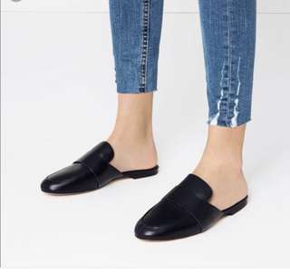 Zara leather loafer mules -36