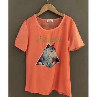 🚚 【全新】獨角獸 韓系風格 塗鴉 童趣 彩繪 簡約  短袖t恤