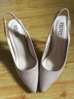 Suede slingback heel