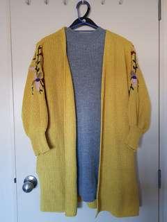 Mustard floral sleeve cardigan
