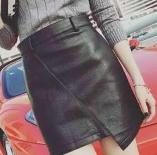 Leather irregular skirt