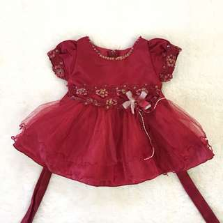 Dress pesta baby maroon