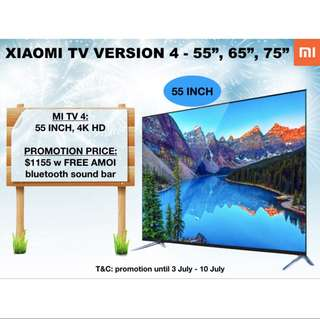 "TV xiaomi tv 4 frameless super thin Samsung pannel Android 4K TV 55""65""75"""