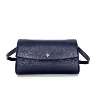 Authentic Tory Burch Robinson Pebbled Flap Wallet - Navy