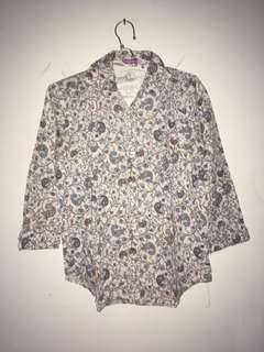 Shirt / Kemeja White & Blue Motif