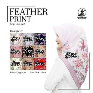 Jilbab Umama Scarf - Feather Print D7 Eceran