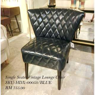 SINGLE SEATER VINTAGE LOUNGE CHAIR / BLUE