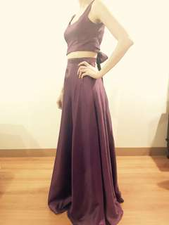 FOR RENT backless and cropped 2pc long purple gown