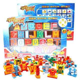 26 Letters of the Alphabet Transformers Robot Baby Kids Toys Gift